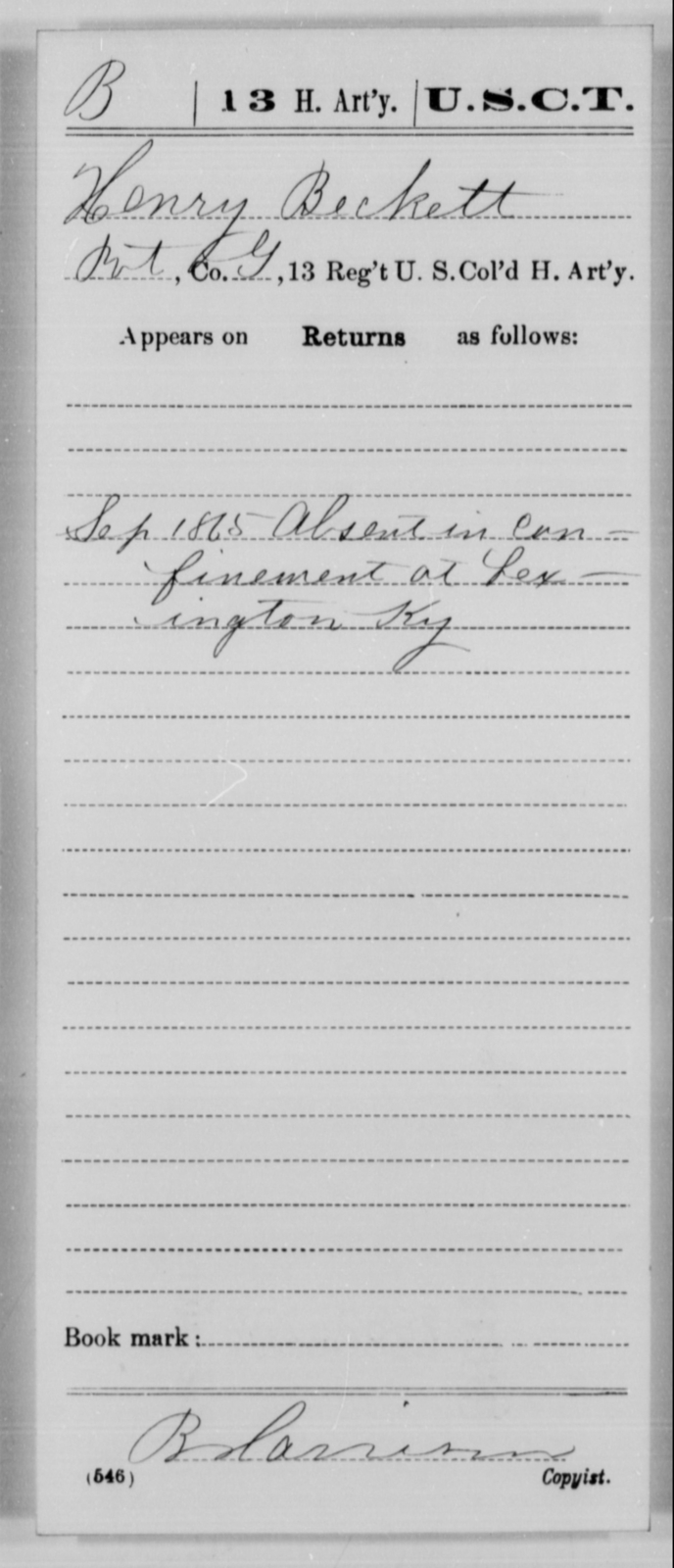 Beckett, Henry - Age [Blank], Year: 1865 - 13th US Colored Heavy Artillery, Misc Cards - United States Colored Troops: Artillery Organizations