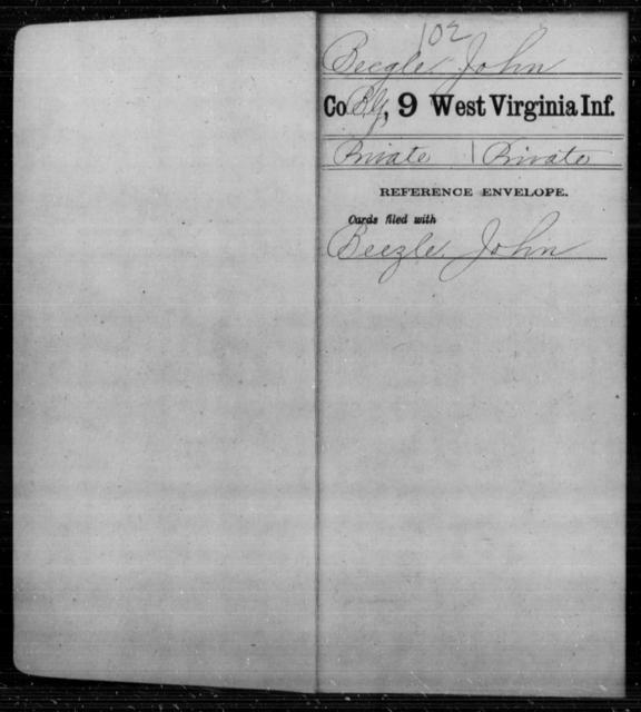 Beegle, John - Age [Blank], Year: [Blank] - Ninth Infantry - West Virginia