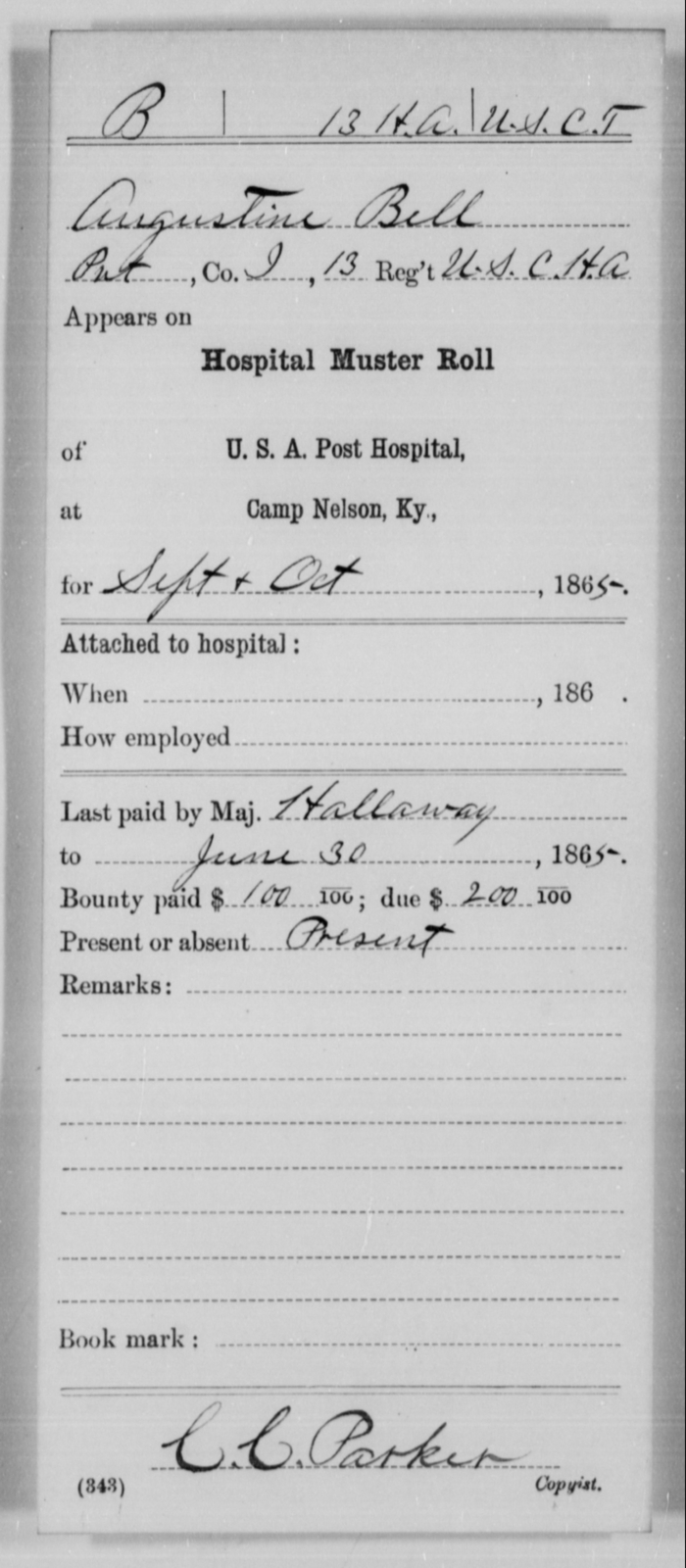 Bell, Augustine - Age [Blank], Year: 1865 - 13th US Colored Heavy Artillery, Misc Cards - United States Colored Troops: Artillery Organizations