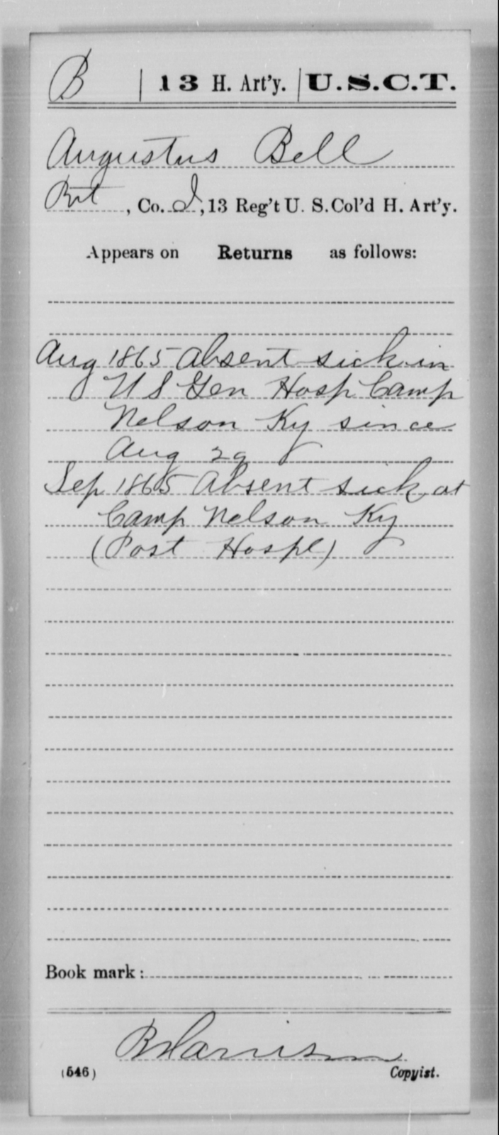 Bell, Augustus - Age [Blank], Year: 1865 - 13th US Colored Heavy Artillery, Misc Cards - United States Colored Troops: Artillery Organizations