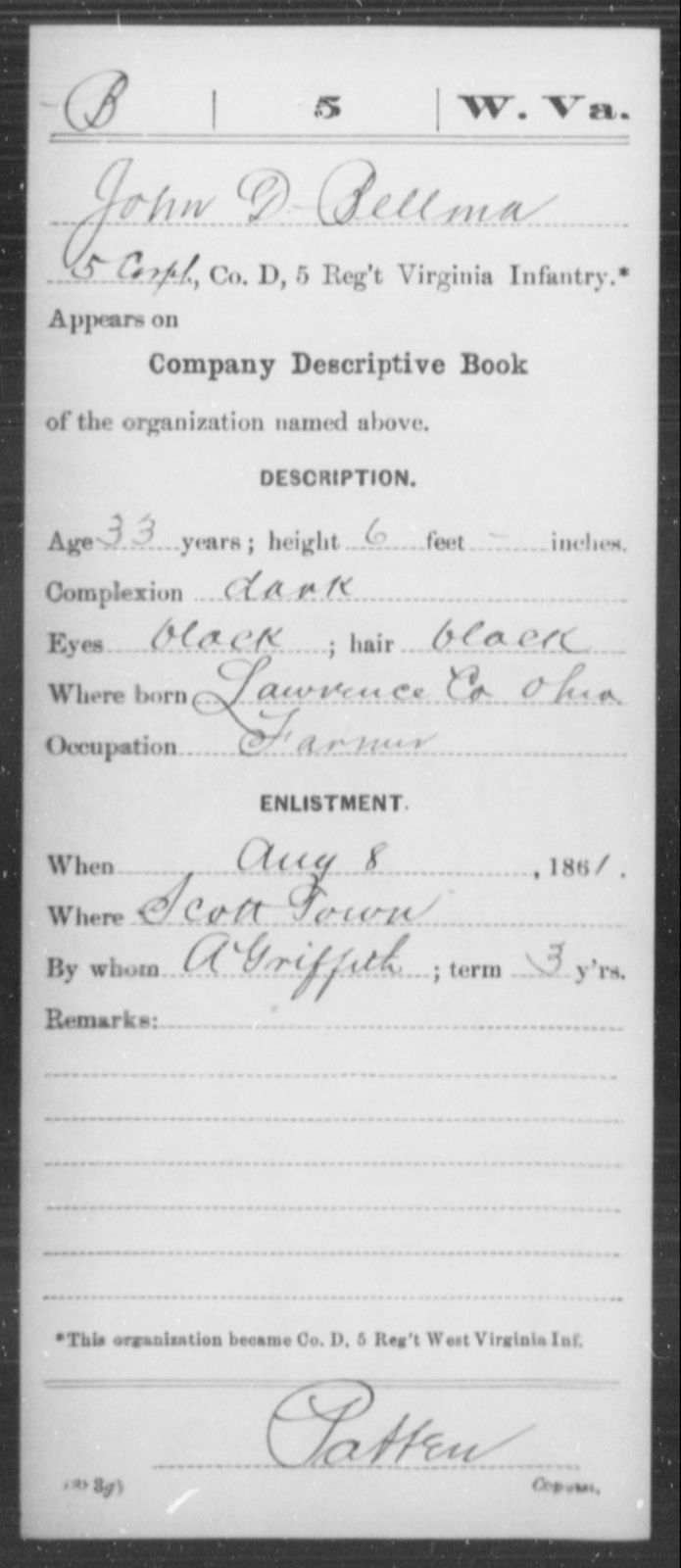 Bellma, John D - Age 33, Year: 1861 - Miscellaneous Card Abstracts of Records - West Virginia