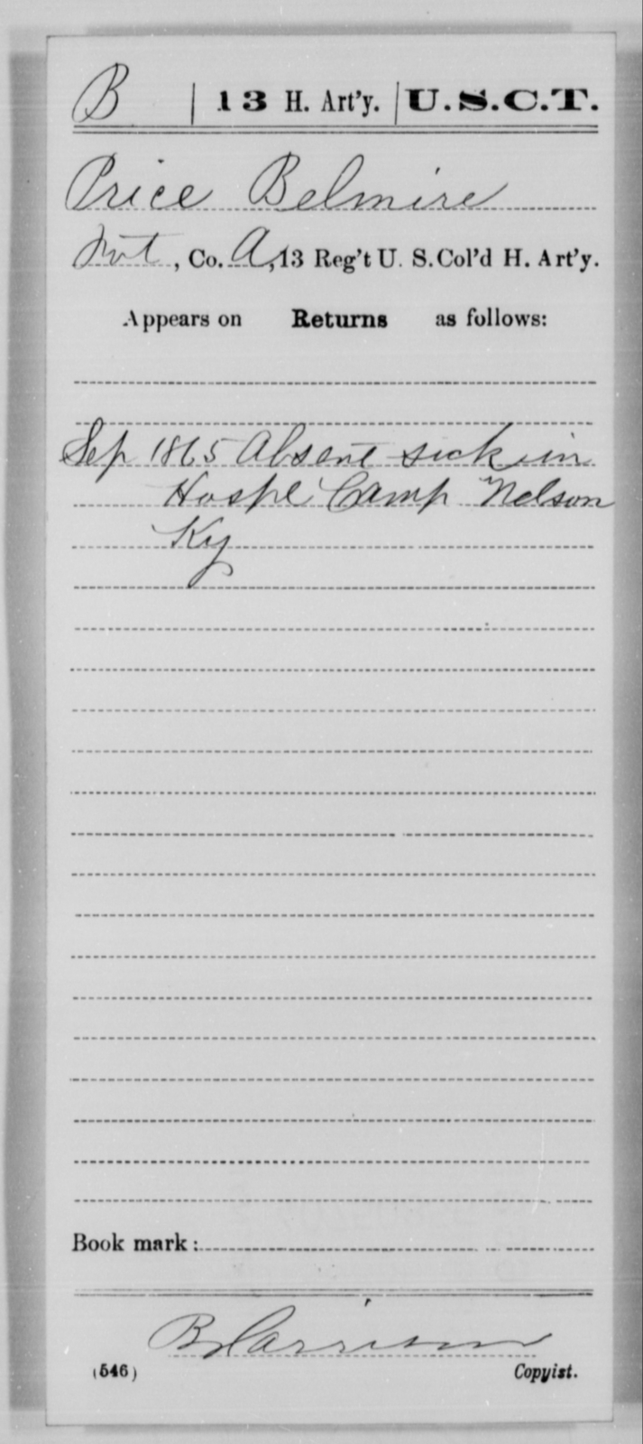 Belmire, Price - Age [Blank], Year: 1865 - 13th US Colored Heavy Artillery, Misc Cards - United States Colored Troops: Artillery Organizations