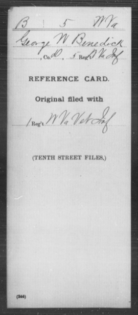 Benedick, George W - Age [Blank], Year: [Blank] - Miscellaneous Card Abstracts of Records - West Virginia