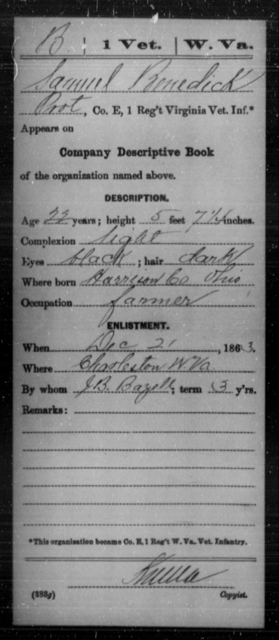 Benedick, Samuel - Age 22, Year: 1863 - Miscellaneous Card Abstracts of Records - West Virginia