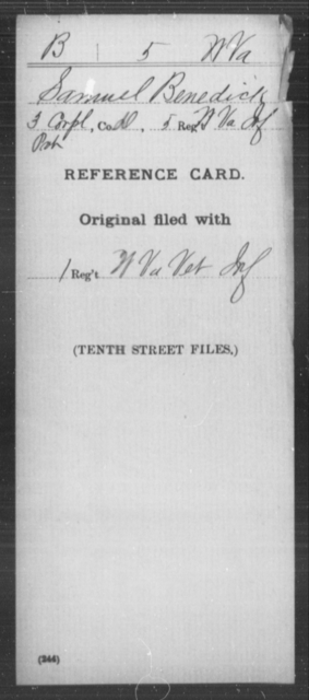 Benedick, Samuel - Age [Blank], Year: [Blank] - Miscellaneous Card Abstracts of Records - West Virginia