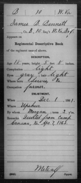 Bennett, James B - Age 18, Year: 1861 - Miscellaneous Card Abstracts of Records - West Virginia