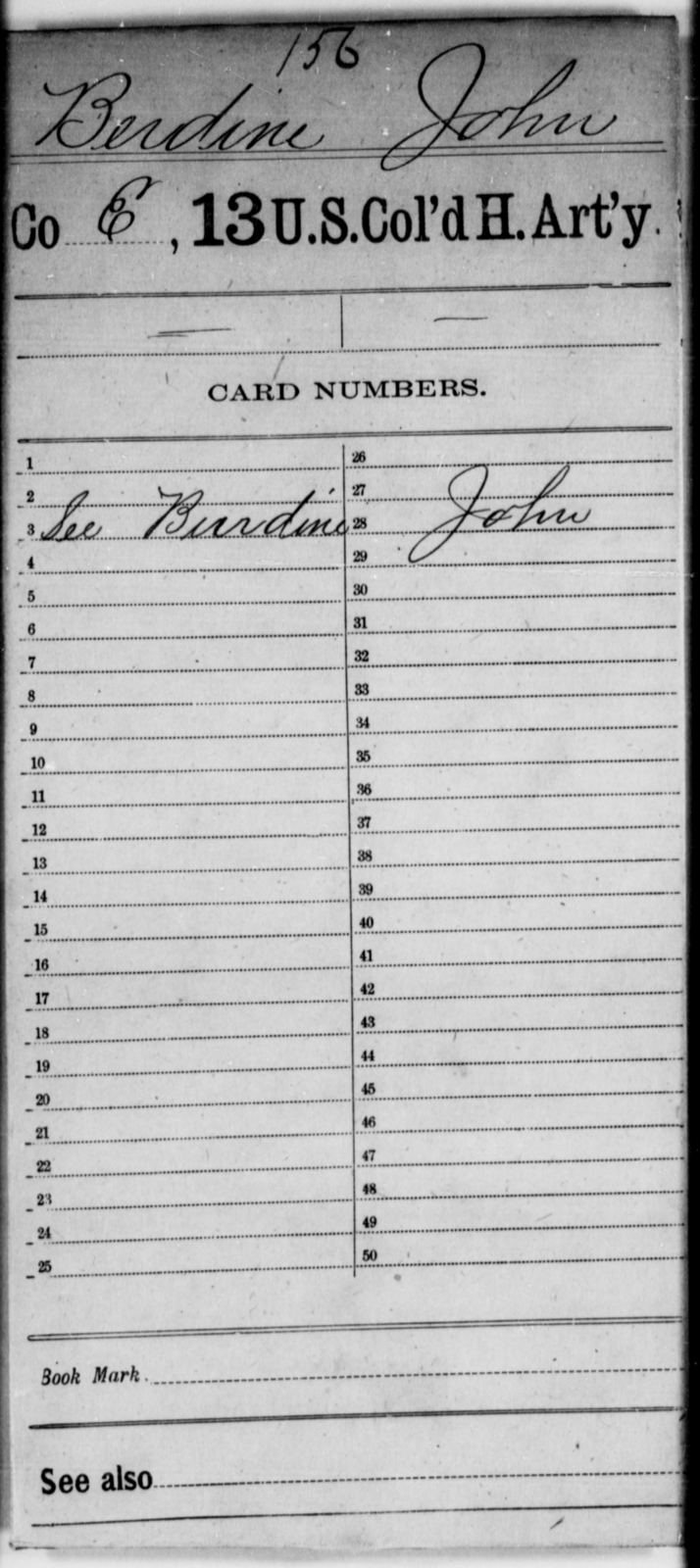 Berdine, John - Age [Blank], Year: [Blank] - 13th US Colored Heavy Artillery - United States Colored Troops: Artillery Organizations