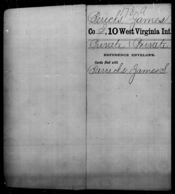 Bericks, James - Age [Blank], Year: [Blank] - Tenth Infantry - West Virginia