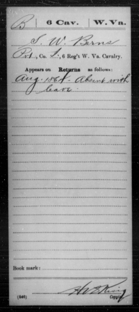 Berns, S W - Age [Blank], Year: 1864 - Miscellaneous Card Abstracts of Records - West Virginia