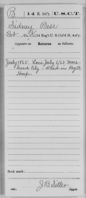 Bess, Sidney - Age [Blank], Year: 1865 - 14th US Colored Heavy Artillery, Wi-Y AND Misc Cards - United States Colored Troops: Artillery Organizations