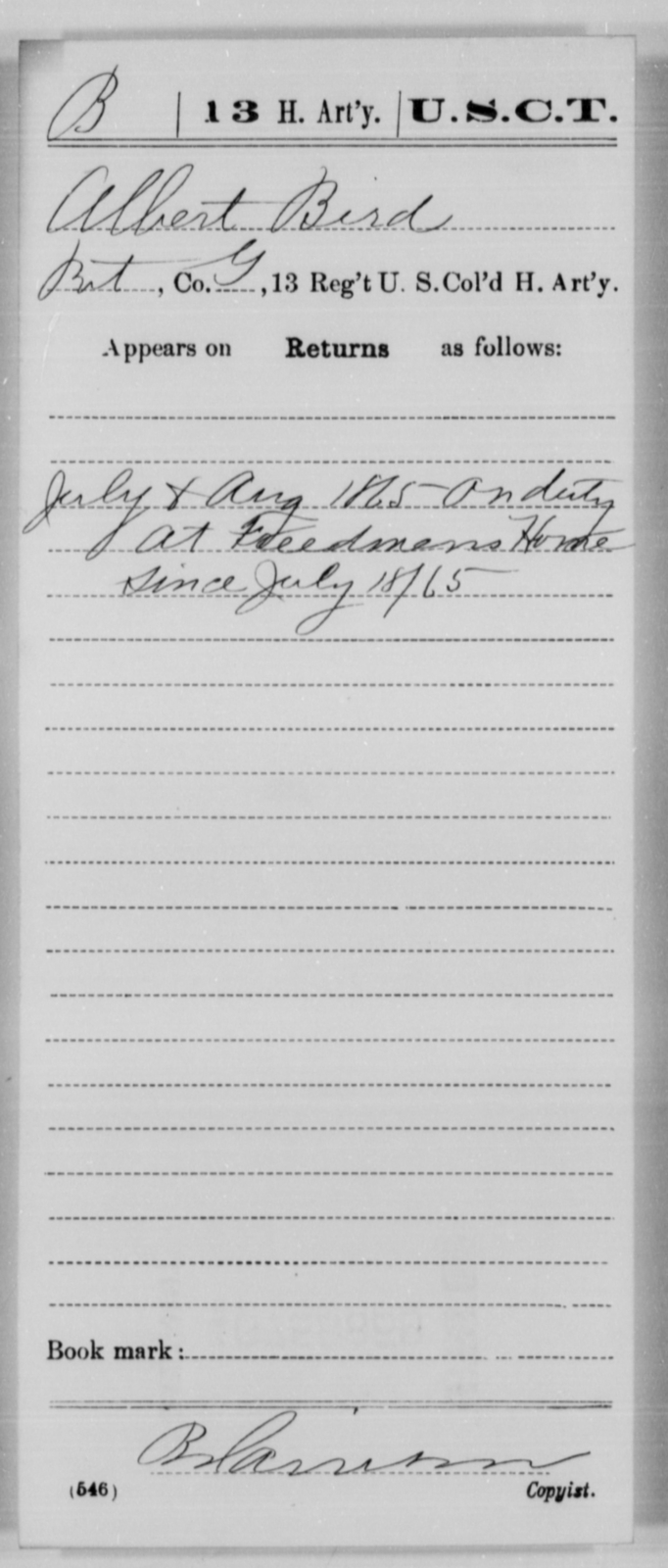 Bird, Albert - Age [Blank], Year: 1865 - 13th US Colored Heavy Artillery, Misc Cards - United States Colored Troops: Artillery Organizations