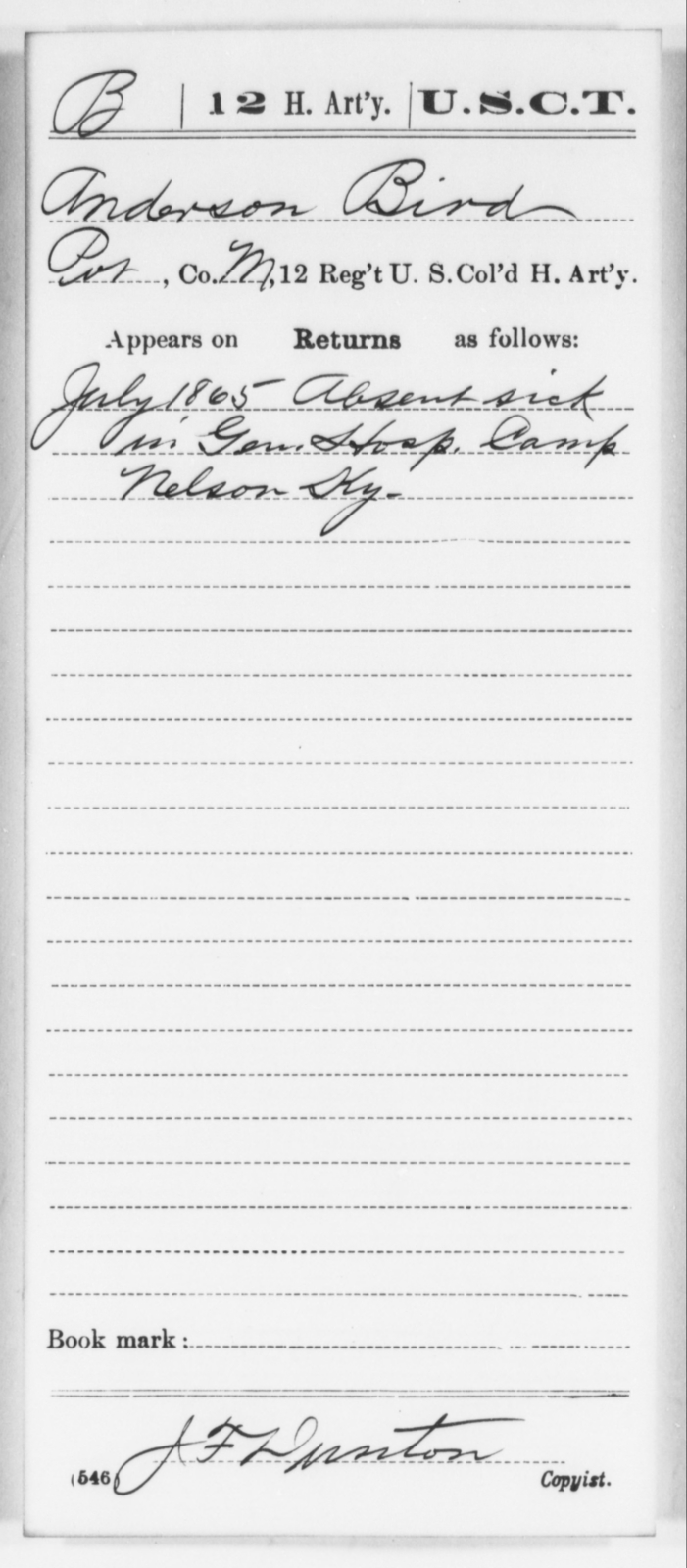 Bird, Anderson - Age [Blank], Year: 1865 - 12th US Colored Heavy Artillery, Wo-Y AND Misc Cards, B-H - United States Colored Troops: Artillery Organizations