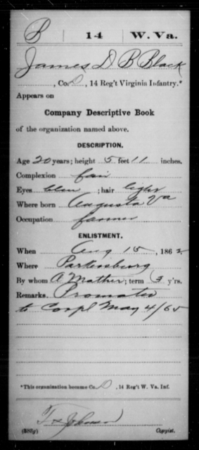 Black, James D B - Age 20, Year: 1862 - Miscellaneous Card Abstracts of Records - West Virginia