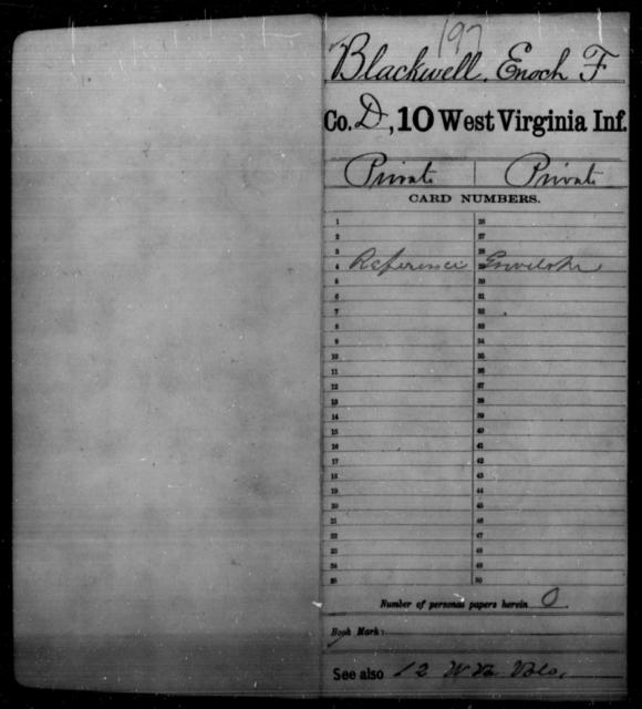 Blackwell, Enoch F - Age [Blank], Year: [Blank] - Tenth Infantry - West Virginia