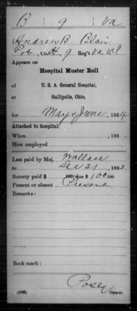 Blair, Andrew B - Age [Blank], Year: 1864 - Miscellaneous Card Abstracts of Records - West Virginia