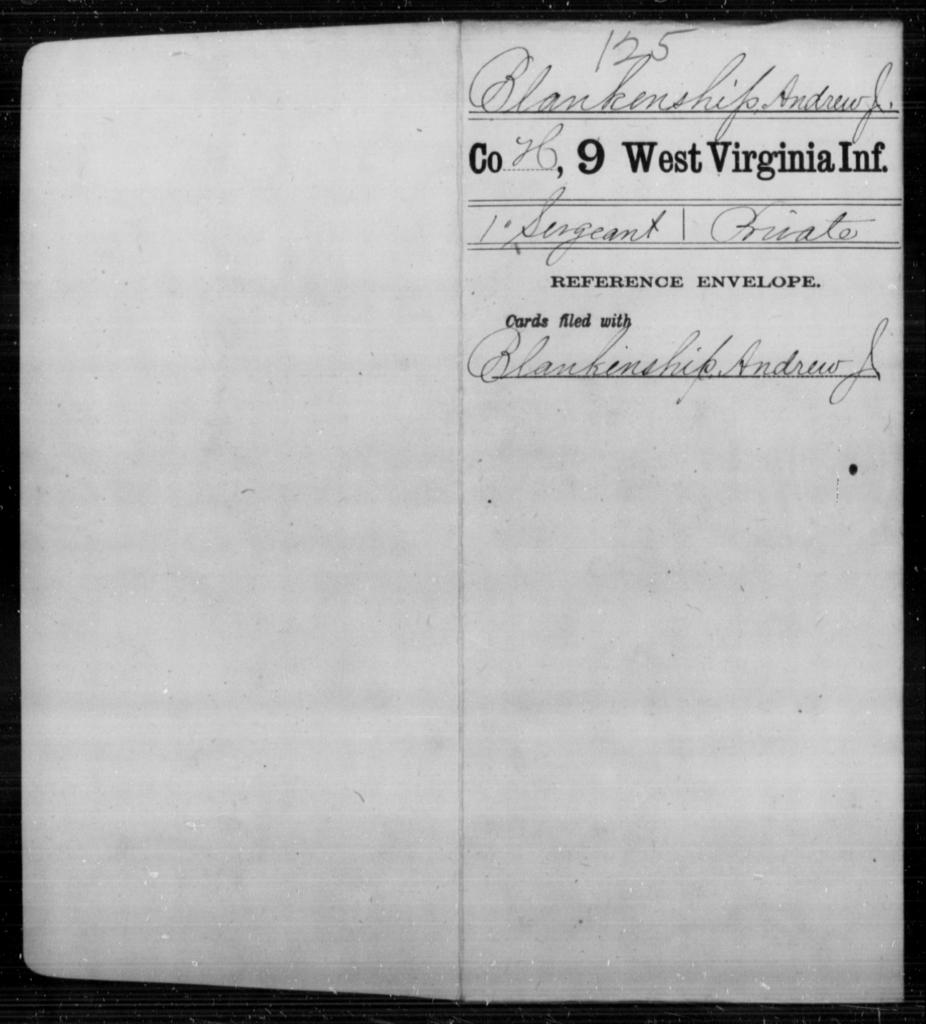 [Blank], Andrew J - Age [Blank], Year: [Blank] - Ninth Infantry - West Virginia