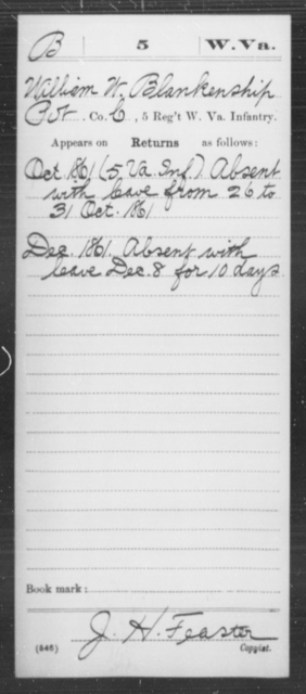 [Blank], William W - Age [Blank], Year: 1861 - Miscellaneous Card Abstracts of Records - West Virginia