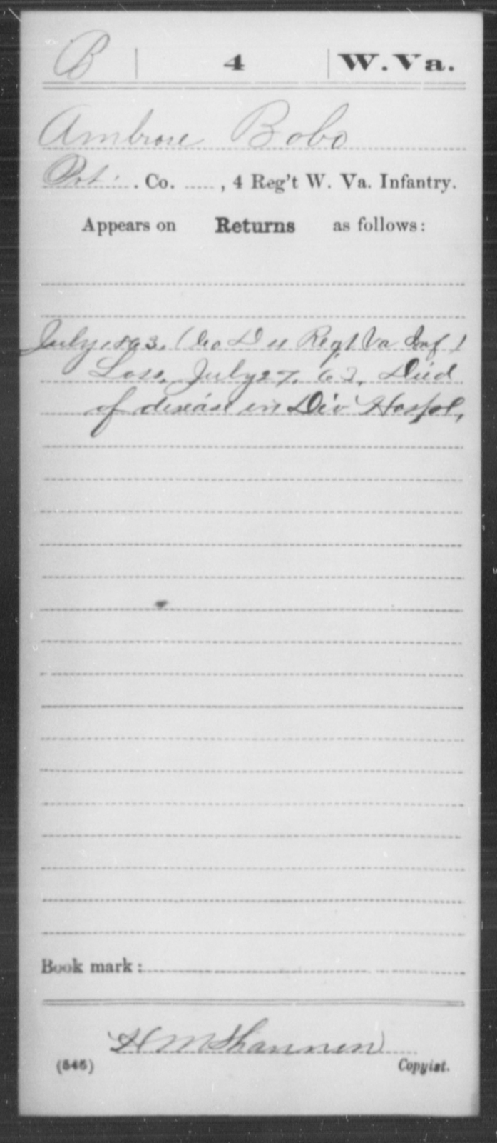 Bobo, Ambrose - Age [Blank], Year: 1863 - Miscellaneous Card Abstracts of Records - West Virginia