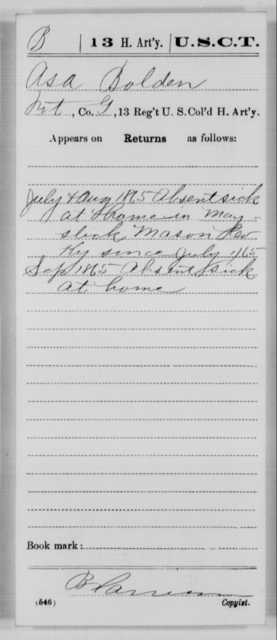 Bolden, Asa - Age [Blank], Year: 1865 - 13th US Colored Heavy Artillery, Misc Cards - United States Colored Troops: Artillery Organizations