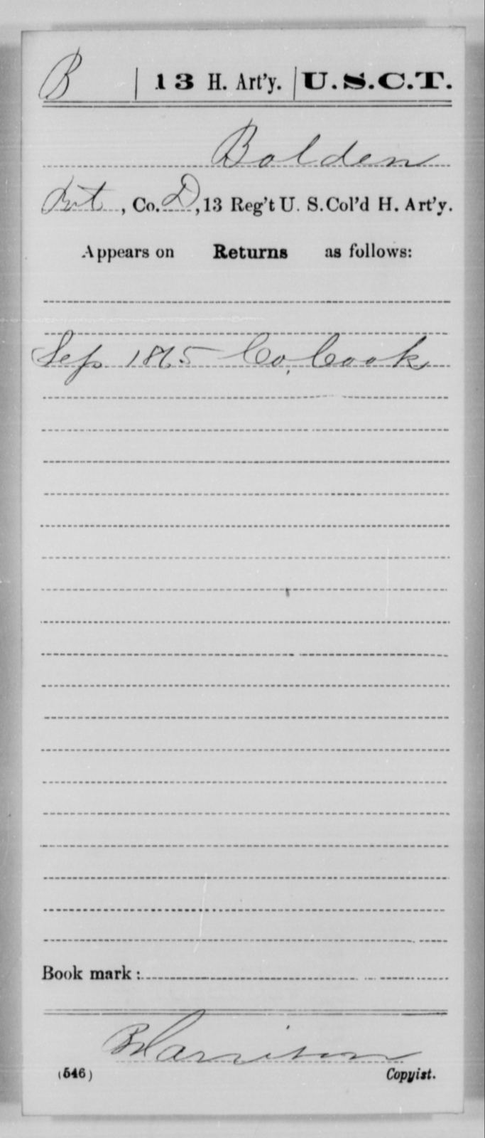 Bolden, [Blank] - Age [Blank], Year: 1865 - 13th US Colored Heavy Artillery, Misc Cards - United States Colored Troops: Artillery Organizations