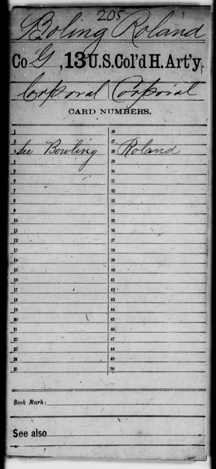 Boling, Roland - Age [Blank], Year: [Blank] - 13th US Colored Heavy Artillery - United States Colored Troops: Artillery Organizations
