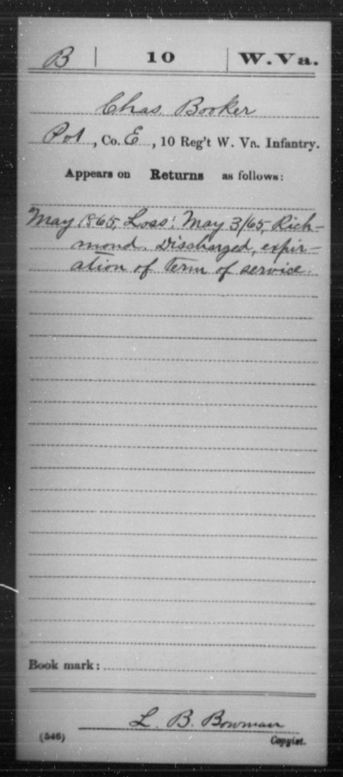 Booker, Chas - Age [Blank], Year: 1865 - Miscellaneous Card Abstracts of Records - West Virginia