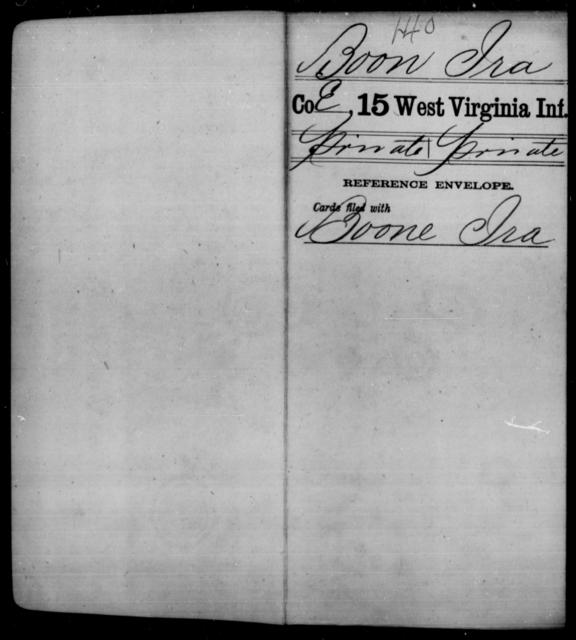 Boon, Ira - Age [Blank], Year: [Blank] - Fifteenth Infantry - West Virginia