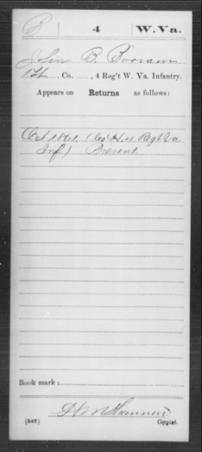 Booram, John B - Age [Blank], Year: 1861 - Miscellaneous Card Abstracts of Records - West Virginia