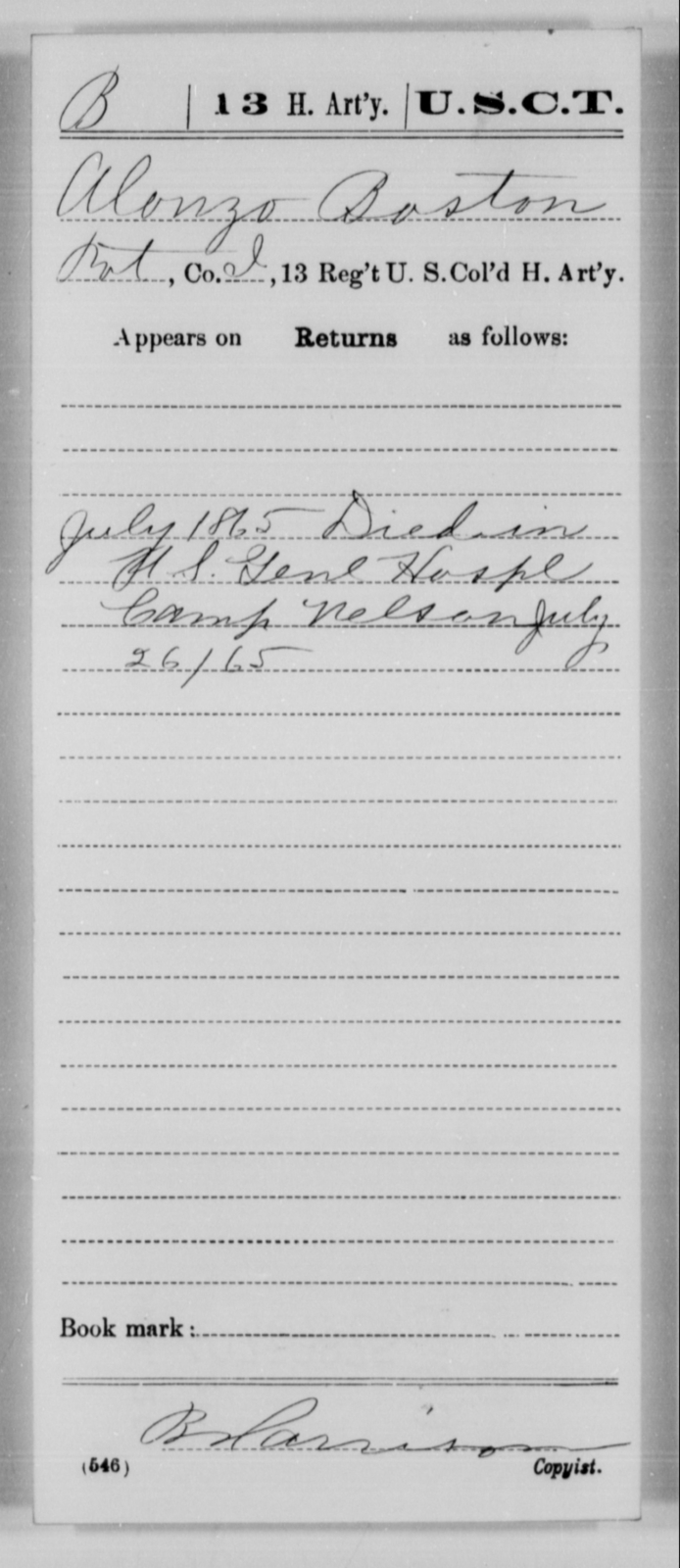 Boston, Alonzo - Age [Blank], Year: 1865 - 13th US Colored Heavy Artillery, Misc Cards - United States Colored Troops: Artillery Organizations