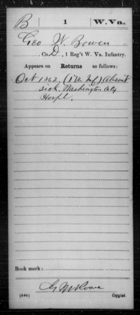 Bowen, Geo W - Age [Blank], Year: 1862 - Miscellaneous Card Abstracts of Records - West Virginia