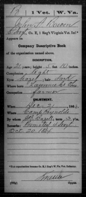 Bowen, John A - Age 21, Year: 1863 - Miscellaneous Card Abstracts of Records - West Virginia