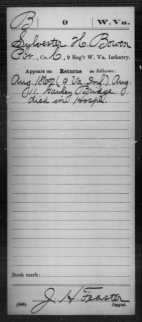 Bowen, Sylvester H - Age [Blank], Year: 1862 - Miscellaneous Card Abstracts of Records - West Virginia