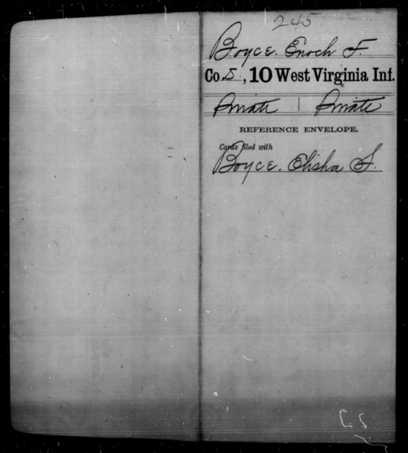 Boyce, Enoch F - Age [Blank], Year: [Blank] - Tenth Infantry - West Virginia