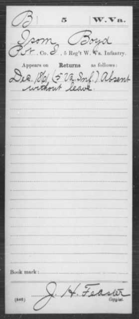 Boyd, Isom - Age [Blank], Year: 1861 - Miscellaneous Card Abstracts of Records - West Virginia