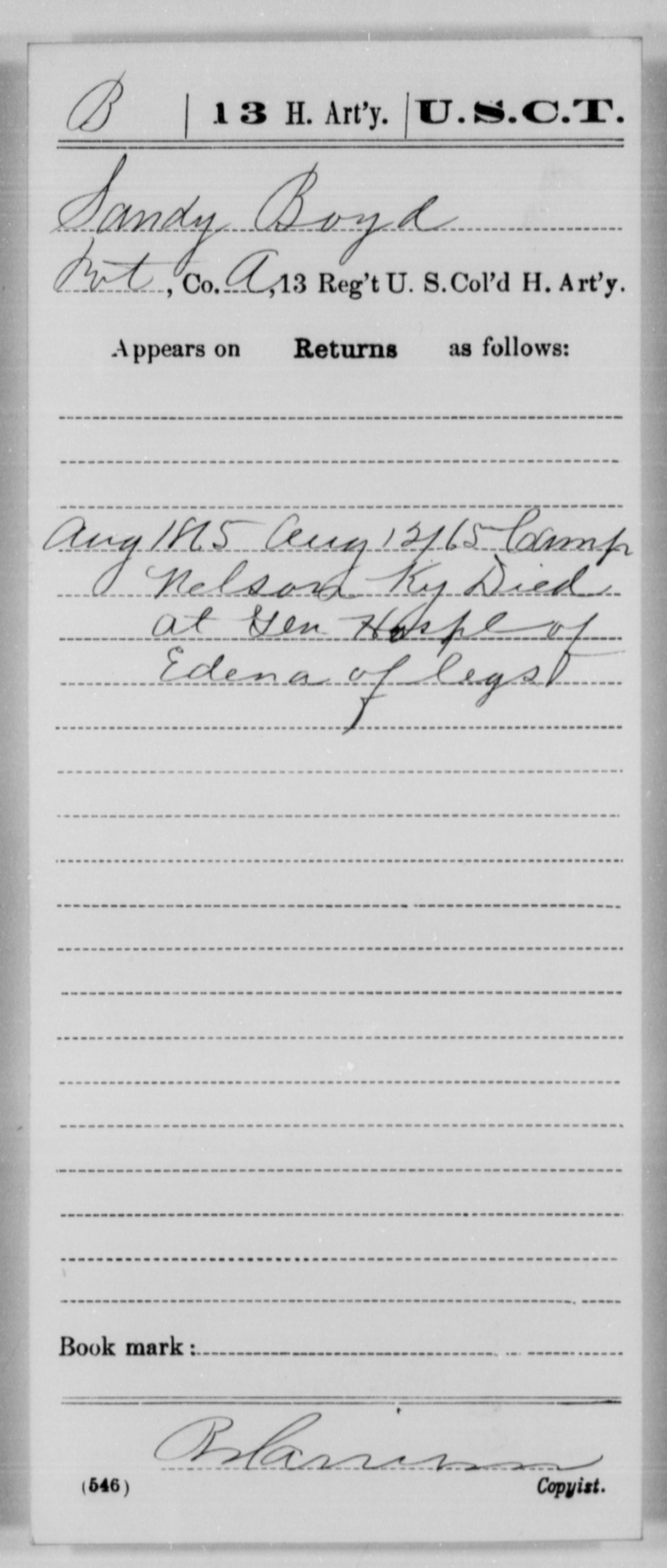 Boyd, Sandy - Age [Blank], Year: 1865 - 13th US Colored Heavy Artillery, Misc Cards - United States Colored Troops: Artillery Organizations
