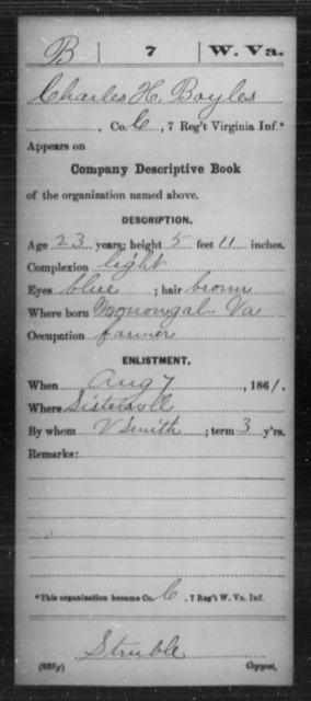 Boyles, Charles H - Age 23, Year: 1861 - Miscellaneous Card Abstracts of Records - West Virginia