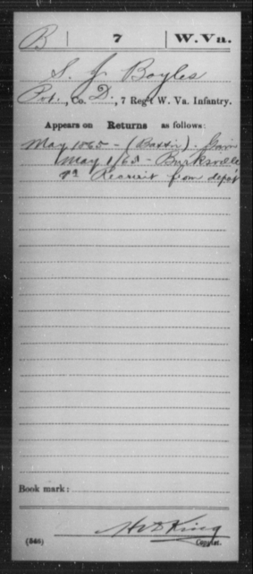Boyles, S J - Age [Blank], Year: 1865 - Miscellaneous Card Abstracts of Records - West Virginia