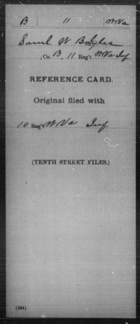 Boyles, Saml W - Age [Blank], Year: [Blank] - Miscellaneous Card Abstracts of Records - West Virginia
