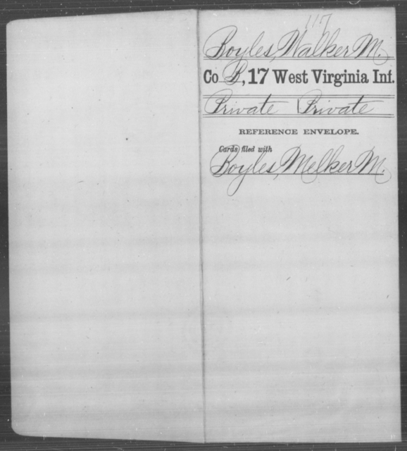 Boyles, Walker M - Age [Blank], Year: [Blank] - Seventeenth Infantry - West Virginia