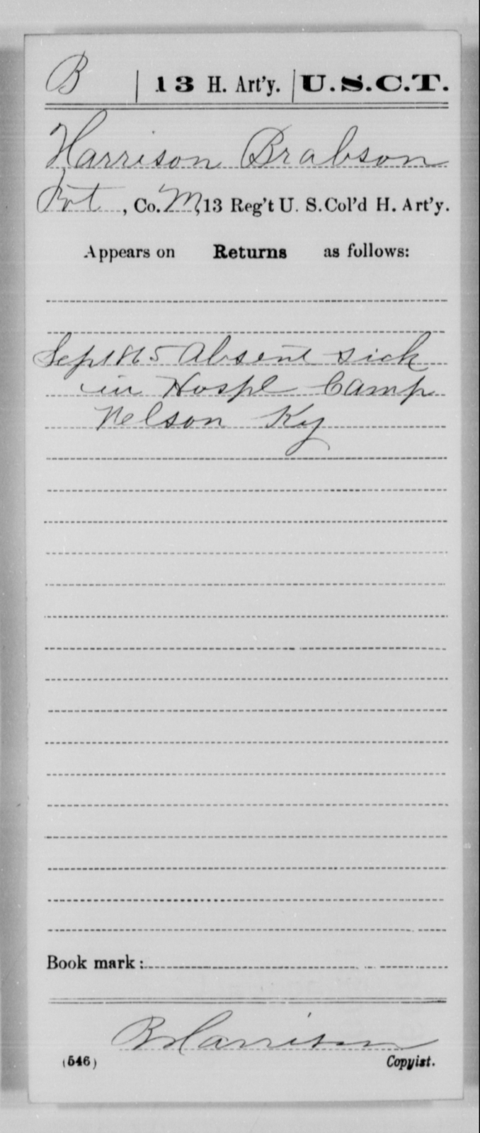Brabson, Harrison - Age [Blank], Year: 1865 - 13th US Colored Heavy Artillery, Misc Cards - United States Colored Troops: Artillery Organizations