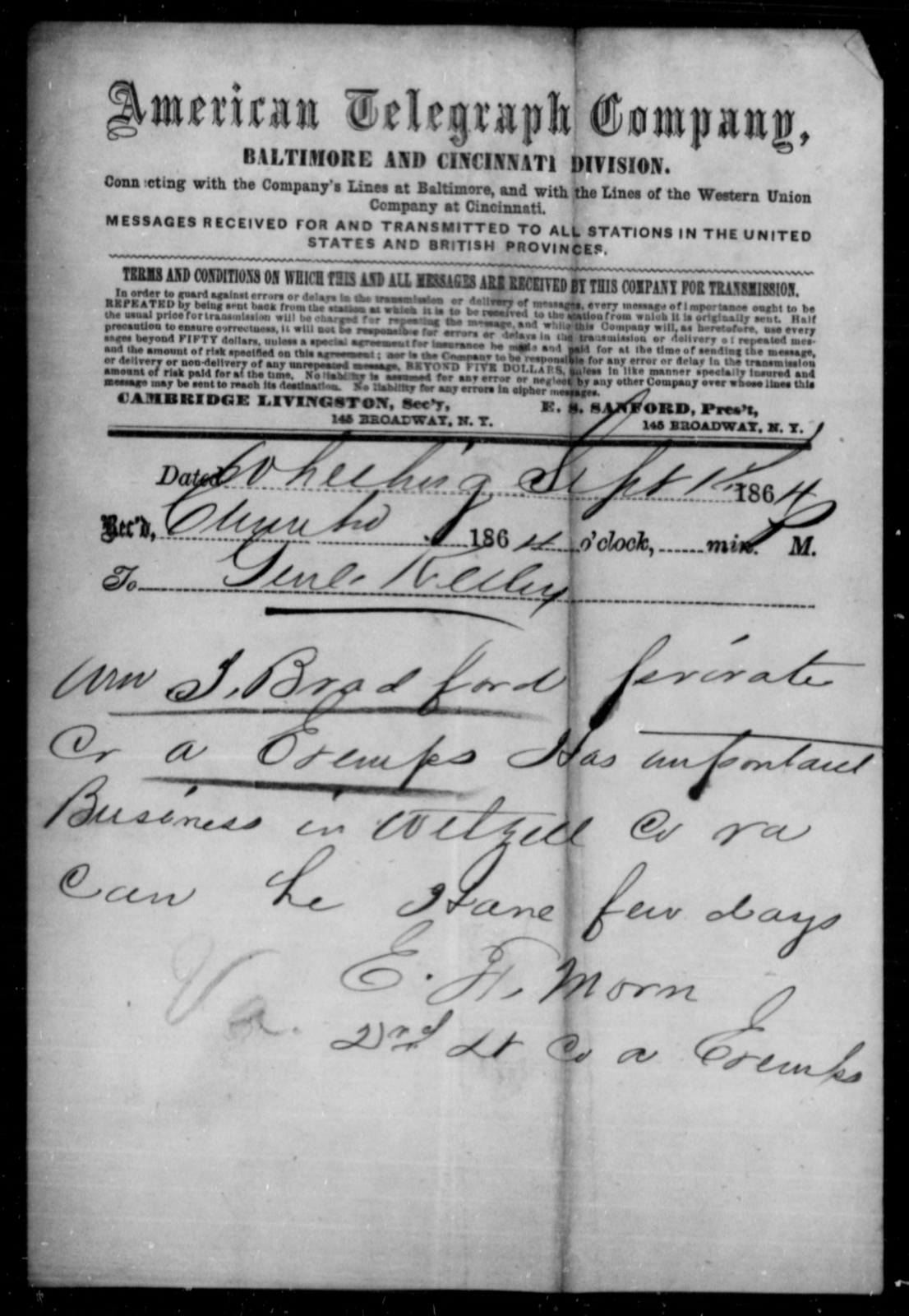 Bradford, Wm T - Age [Blank], Year: 1864 - Personal Papers Arranged by Organizations - West Virginia