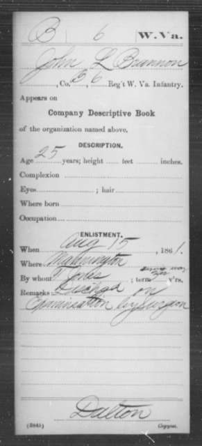 Brannon, John L - Age 25, Year: 1861 - Miscellaneous Card Abstracts of Records - West Virginia