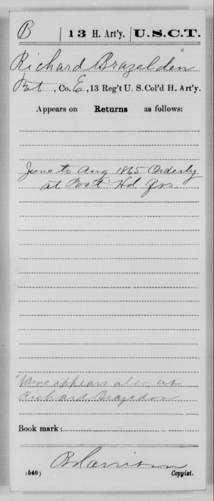 Brazelden, Richard - Age [Blank], Year: 1865 - 13th US Colored Heavy Artillery, Misc Cards - United States Colored Troops: Artillery Organizations