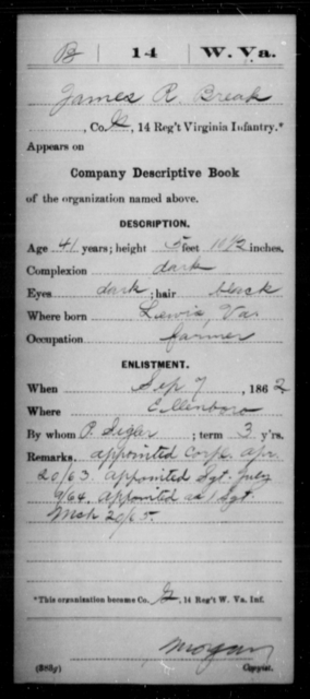 Break, James R - Age 41, Year: 1862 - Miscellaneous Card Abstracts of Records - West Virginia