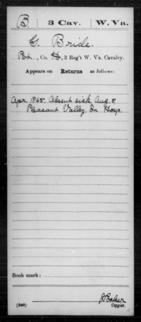 Bride, G - Age [Blank], Year: 1865 - Miscellaneous Card Abstracts of Records - West Virginia
