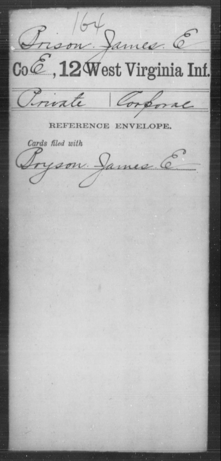 Brison, James E - Age [Blank], Year: [Blank] - Twelfth Infantry - West Virginia