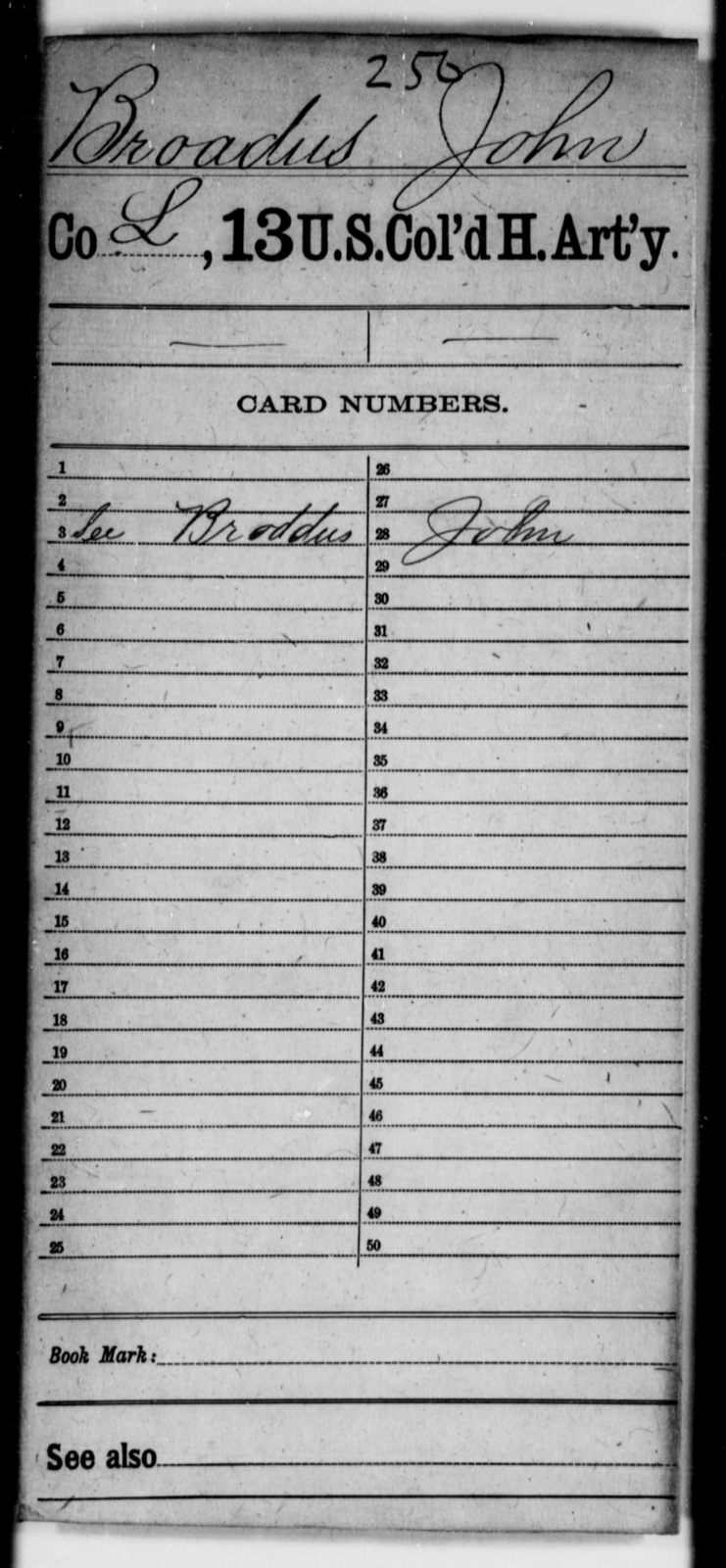 Broadus, John - Age [Blank], Year: [Blank] - 13th US Colored Heavy Artillery - United States Colored Troops: Artillery Organizations
