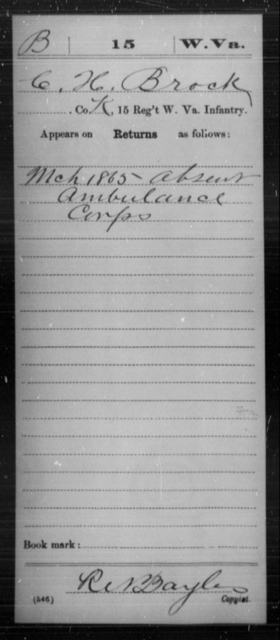 Brock, C H - Age [Blank], Year: 1865 - Miscellaneous Card Abstracts of Records - West Virginia