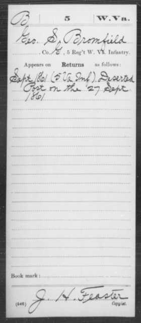 Bromfield, Geo S - Age [Blank], Year: 1861 - Miscellaneous Card Abstracts of Records - West Virginia