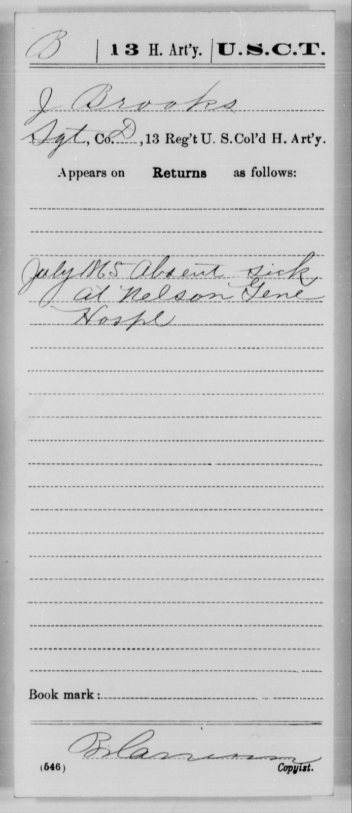Brooks, J - Age [Blank], Year: 1865 - 13th US Colored Heavy Artillery, Misc Cards - United States Colored Troops: Artillery Organizations